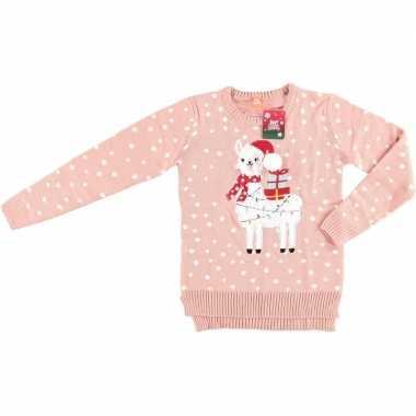 Roze dames kersttrui met lama/alpaca