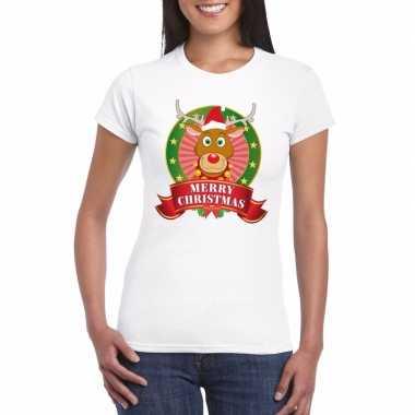 Rudolf kerst t shirt wit merry christmas voor dames