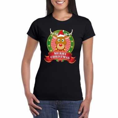 Rudolf kerst t shirt zwart merry christmas voor dames