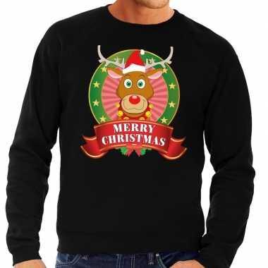Rudolf kersttrui zwart merry christmas voor heren