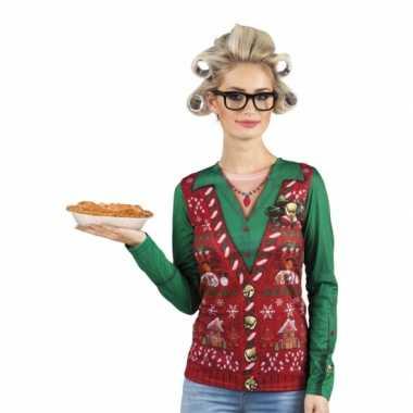 Shirt kerst gilet opdruk dames