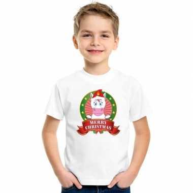 Wit kerst t shirt voor kinderen met een eenhoorn