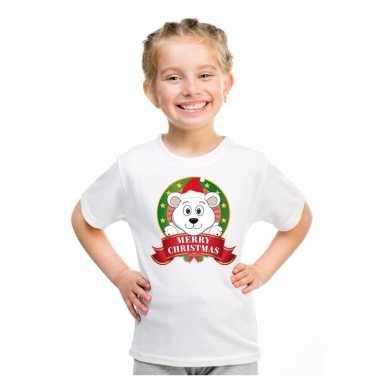 Wit kerst t shirt voor kinderen met een ijsbeer