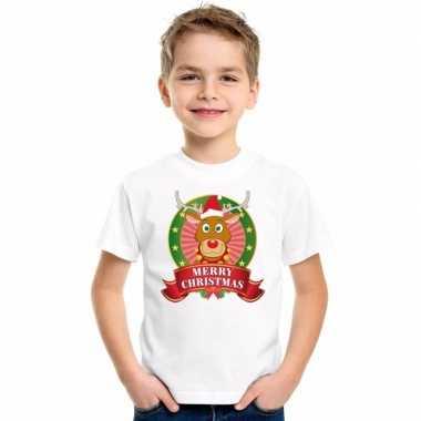 Wit kerst t shirt voor kinderen met een rendier