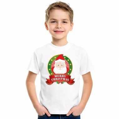 Wit kerst t shirt voor kinderen met kerstman print