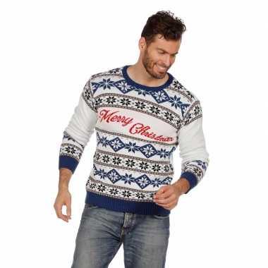Witte kersttrui merry christmas voor volwassenen