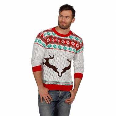 Kersttrui Hert.Witte Kersttrui Met Rendieren Voor Volwassenen Kerstkleding Eu