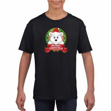 Zwart kerst t shirt voor kinderen met een ijsbeer