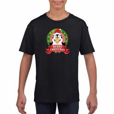 Zwart kerst t shirt voor kinderen met een pinguin