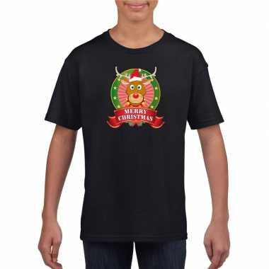 Zwart kerst t shirt voor kinderen met een rendier