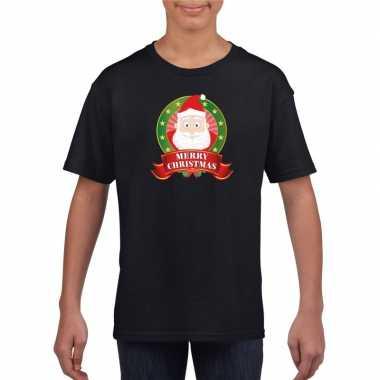 Zwart kerst t shirt voor kinderen met kerstman print