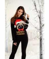Dames kersttrui zwart met mopshond