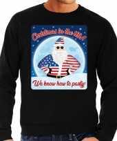 Foute amerika kersttrui christmas in usa zwart voor heren