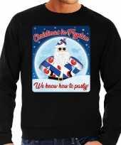 Foute friesland kersttrui christmas in fryslan zwart voor heren