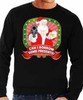 Foute kersttrui zwart can i borrow some presents voor heren