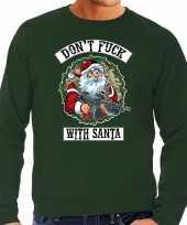 Grote maten foute kersttrui kerstkleding dont fuck with santa groen voor heren