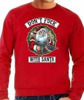 Grote maten foute kersttrui kerstkleding dont fuck with santa rood voor heren