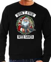 Grote maten foute kersttrui kerstkleding dont fuck with santa zwart voor heren