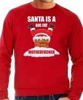 Grote maten foute kersttrui kerstkleding santa is a big fat motherfucker rood voor heren