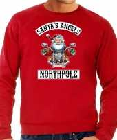 Grote maten foute kersttrui kerstkleding santas angels northpole rood voor heren