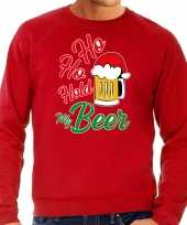 Grote maten ho ho hold my beer fout kersttrui kerstkleding rood voor heren