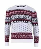 Kersttrui voor volwassenen met nordic print wit