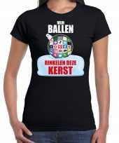 Rinkelende kerstbal shirt kerstkleding mijn ballen rinkelen deze kerst zwart voor dames